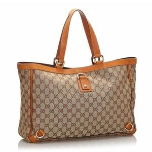 Gucci Orange Trim Canvas Tote